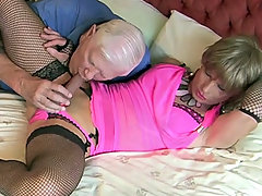 Kim's date for tonight loves her in a sexy little pink number and of course some black stockings to go with it. He's a great date and is also a bit of a dab hand at toying her ass too